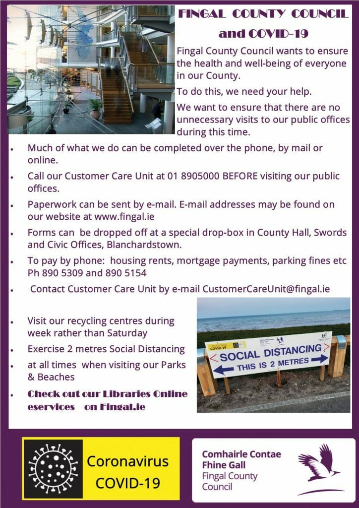 FINGAL  COUNTY  COUNCIL  and COVID-19: Help us to help you