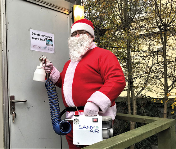 Sanitised Santa Delivers Great News to Donabate Portrane Men's Shed