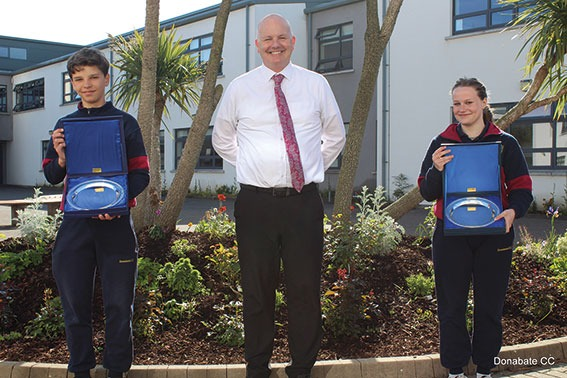 DCC 10 Third Year Academic Achievement Award winners Hubert Wolanin and Ava Pender presented with their Awards by Mr Creevey WEB OPTIMISED