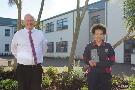 DCC 11 Third Year Student of the Year Aliyatt Badmus presented with her Award by Mr Creevey WEB OPTIMISED